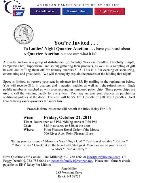 Quarter Auction Flyer American Cancer Society Relay for Life-1